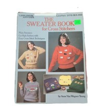 Vtg Leisure Arts The Sweater Book For Cross Stitchers Young Leaflet #375 1985 - $7.84