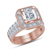Princess Cut Halo White Diamond Bridal Ring Band Set Rose Gold Finish 92... - $92.85