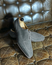 Handmade Men's Grey Suede Lace Up Dress/Formal Oxford Shoes image 3