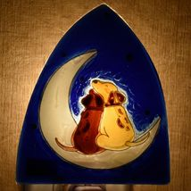 Fused Art Glass Dogs Cuddle on Moon Nightlight Night Light Handmade in Ecuador image 7