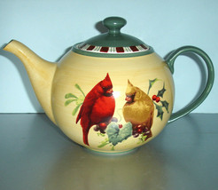 Lenox Winter Greetings Everyday Teapot Featuring Cardinal Birds Motif NEW - $218.90