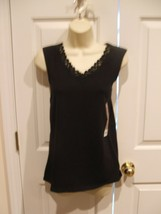 NWT White Stag BLACK  LACE TRIMMED NECKLINE 100% Cotton Sleeve Top Size ... - $12.61