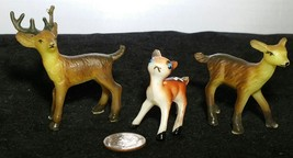 Vintage Reindeer Lot Hard Plastic Christmas Deer Hong Kong - $14.99