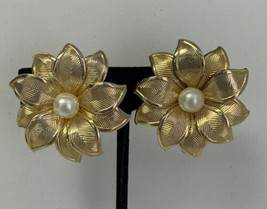 Vintage Gold in Color Flower Clip On Earrings  - $11.65