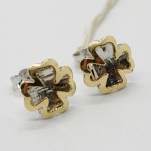 18K WHITE YELLOW GOLD FOUR LEAF CLOVER DOUBLE EARRINGS, FINELY WORKED ITALY MADE image 1