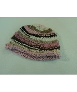 Handcrafted Knitted Baby Hat Pink/Brown/Cream Striped Female 9-12 Months - $31.07