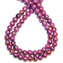 "Pink Metallic Multi-Color Graffiti Drawbench 8mm Round Glass Beads 31"" - $16.83"