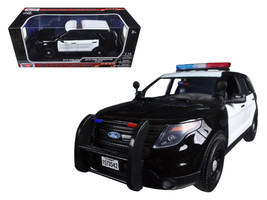 2015 Ford PI Utility Interceptor Black & White Police Car with Light Bar 1/18 Di - $58.48