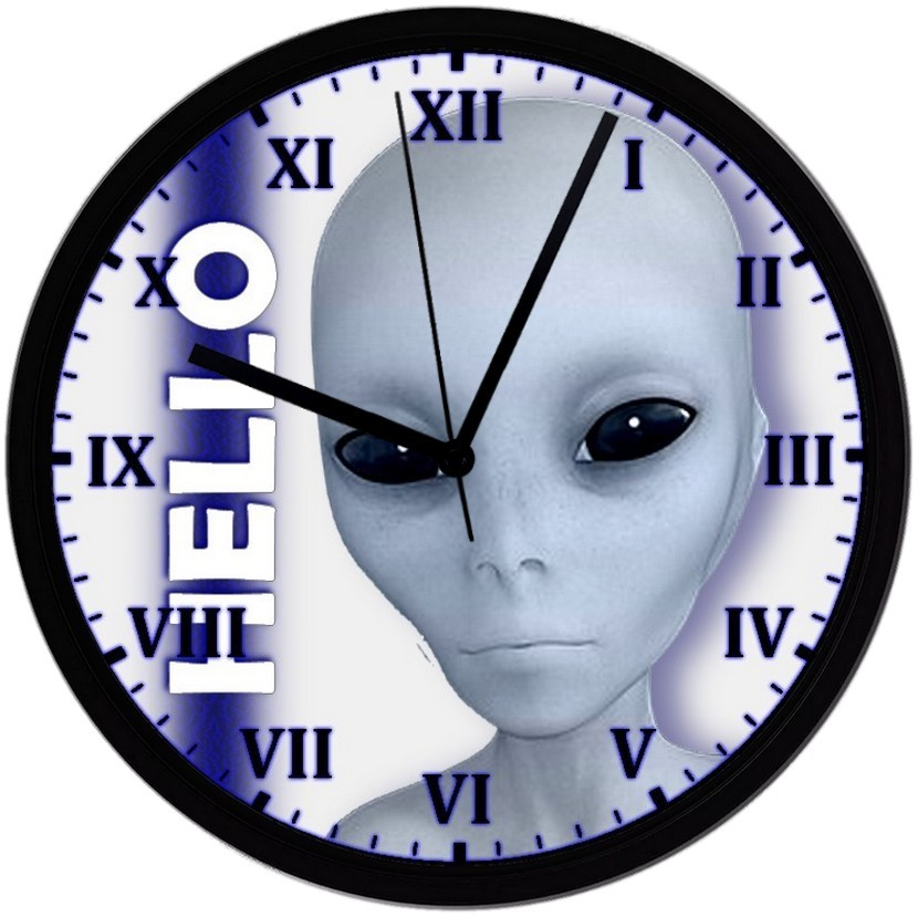 "Primary image for HELLO Alien No.2, EXCLUSIVE! 8"" Homemade Wall Clock, Black, Free Shipping!"