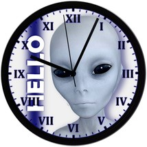 "HELLO Alien No.2, EXCLUSIVE! 8"" Homemade Wall Clock, Black, Free Shipping! - $23.97"