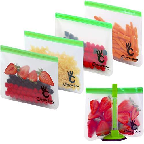 5 Reusable Storage Bags EXTRA THICK + FREE BAGGY RACK - Reusable Ziplock Bags Pe