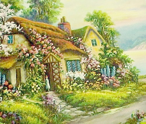 Vintage 1940s Art Litho Print Lithograph Picture Home Wall Decor Cottage Floral