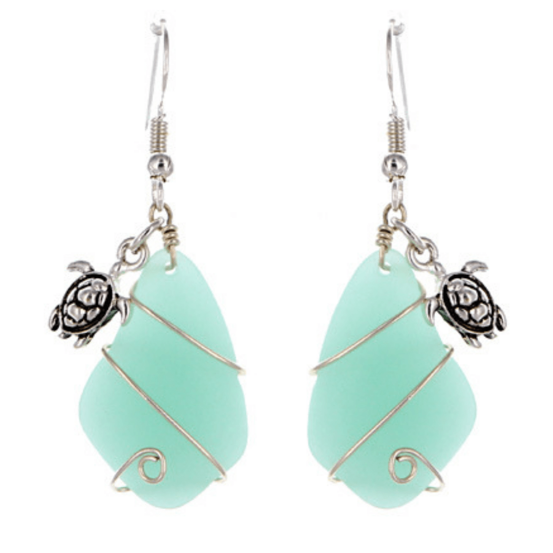 Primary image for Beach Sea Glass Turtle Dangle Earrings In Silver For Women Fashion Jewelry