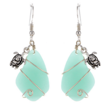 Beach Sea Glass Turtle Dangle Earrings In Silver For Women Fashion Jewelry - $16.80