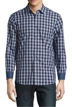 New Mens Michael Kors Tailored Classic Fit Plaid Blue Cotton Long Sleeve Shirt M - $36.99