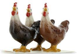 Hagen Renaker Miniature Chicken Leghorn Hens Set of 3 in Black, Brown & Red image 4