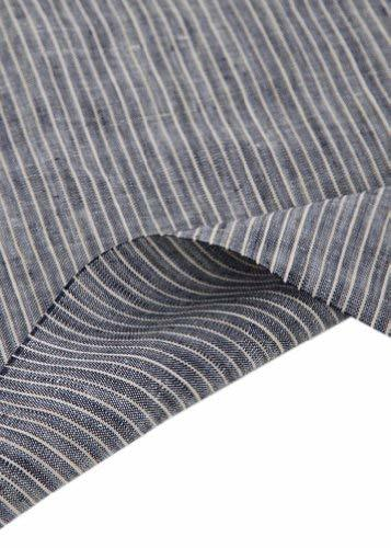 55'' Wide Home Linen Fabrics Striped Flax Fabric Dark Blue (17.5 55 Inches)