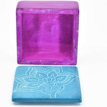 Vaneal Group Hand Carved Kisii Soapstone Blue Fuchsia Floral Flower Trinket Box image 4