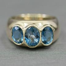 2.35ctw Three Stone Modern London Blue Topaz Bezel Set Ring 14k Yellow G... - $87.13