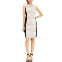 Women's Sz 8 Anne Klein Navy White Lace Panel Dress - $29.65