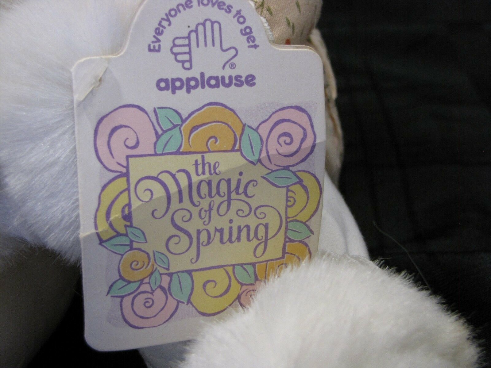APPLAUSE THE MAGIC OF SPRING MUSICAL WIND UP BUNNY RABBIT WHITE & BABY ANNA BELL