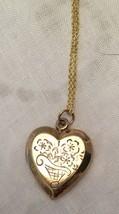 """Vintage 1940 Gold Filled Sterling Heart Locket 18"""" Sterling Silver Verme... - $38.61"""