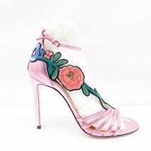 Gucci Nappa Silk Rosa Heels Embroidered Rose - $578.55
