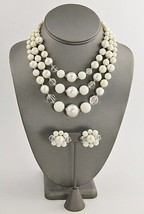 50s 60s VINTAGE Jewelry JAPAN WHITE GLASS BEAD ... - $15.00