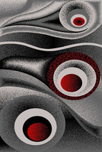 PREMIUM 3D Hand Carved Modern5x8 5x7 Rug Contemporary 1504 Gray Grey Red - $119.00
