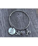 50th Birthday Bangle Bracelet with Letter Charm, 50th Birthday Gifts for... - $19.99