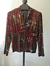 Joseph Ribkoff Jacket Size 1X Burgundy & Forest Green Semi Sheer Retro S... - $54.01