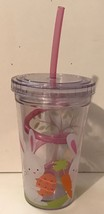 Easter BUNNIES Acrylic Eco 10 Oz Cup W/ Swirly Straw New - Fun For Easte... - $7.94