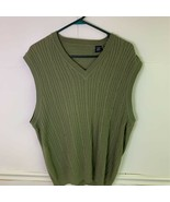Cutter & Buck Womens Sweater Vest Green Cotton Cable Knit V Neck Pullove... - £13.08 GBP