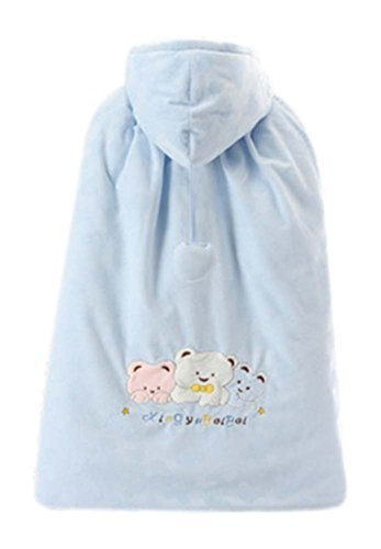 Baby Cloak Fall Winter Funds Thick Warm Cotton Shawl Bear Pattern BLUE