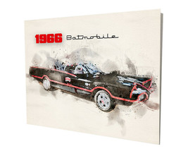 Batman & Robin 1966 Batmobile Water Color Design 16x20 Aluminum Wall Art - $59.35