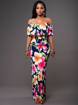 Ruffle Off Shoulder Maxi Dress At Bling Brides Bouquet Online Bridal Store image 2