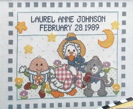 Bucilla Mother Goose 63483 Counted Cross Stitch Sampler  Birth Announcement - $16.82