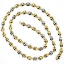 18K YELLOW WHITE GOLD MARINER CHAIN 5 MM, 20 INCHES, ANCHOR ROUNDED NECKLACE image 2
