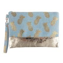 Pineapple Metallic print wristlet bag  - $25.95