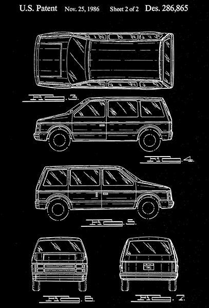 Primary image for 1986 - Automobile Body - W. A. Dayton - Patent Art Poster