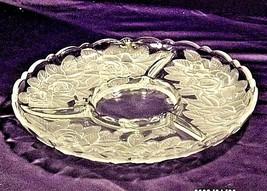 Vintage heavy etched glass 4 divider serving platter floral designs AA19-LD11917