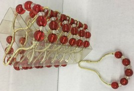 Brand New 12 Roll up shower curtain hooks Red on Gold metallic hook - $11.87