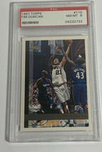 1997 TOPPS TIM DUNCAN ROOKIE CARD RC #115 SPURS PSA 8 NEAR MINT (DR) - $98.99
