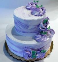 Fake Wedding Cake Two Tier Purple & White Fake Cake Flowers Baby Decorat... - $59.39