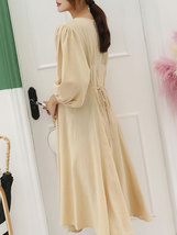 Maternity's Dress V Neck Long Sleeve Solid Color Ladylike Dress image 4