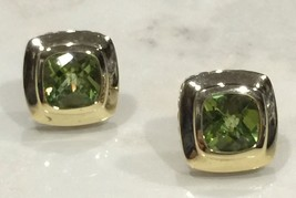 David Yurman Albion sterling silver and 18K gold cushion Peridot earrings. - $1,175.99
