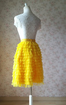 Yellow A-Line Knee Length Tiered Tulle Skirt High Waist Yellow Skirt Outfit T185 image 6
