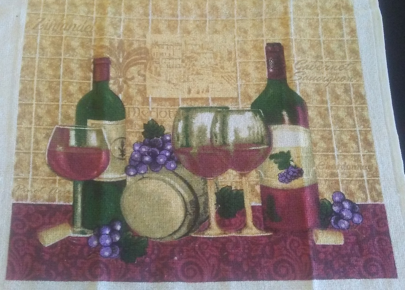 WINE THEME KITCHEN SET 3-pc Potholder Oven Mitt Towel Merlot Grapes Red NEW