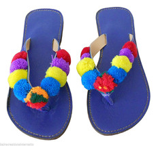 Women Slippers Indian Handmade Designer Leather Flip-Flops Blue US 7  - $24.99