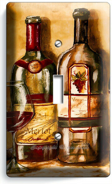 VINTAGE TUSCAN WINE BOTTLES COLLECTION LIGHT SWITCH OUTLET PLATES KITCHEN DECOR image 2